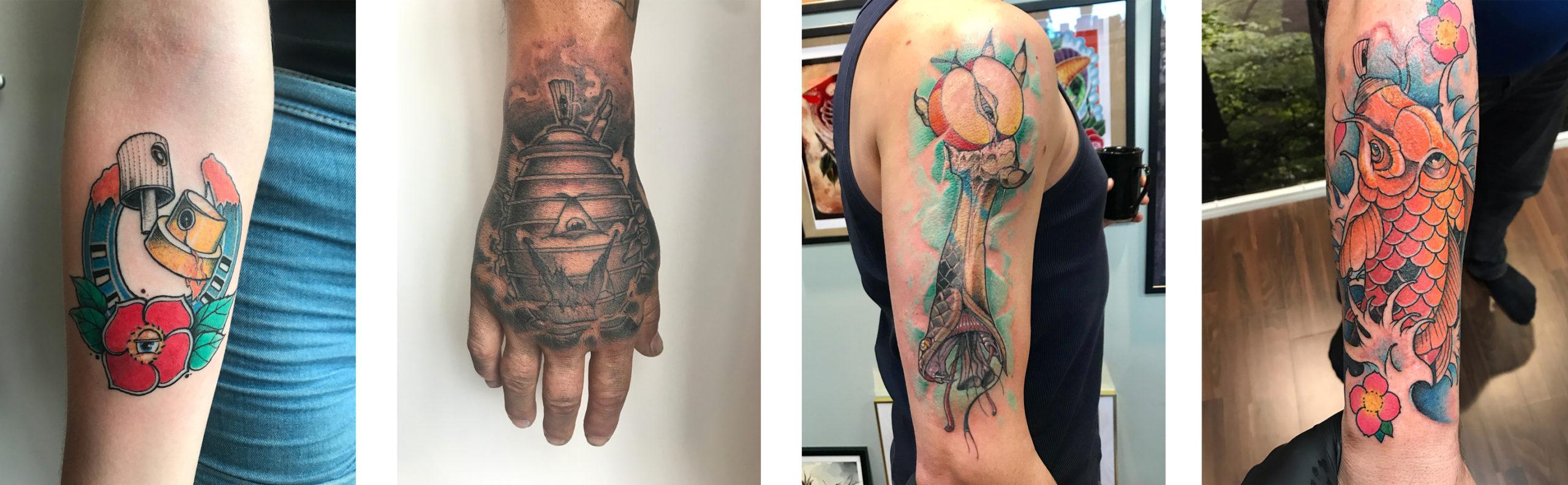 Alcuni tatuaggi realizzati da Coze