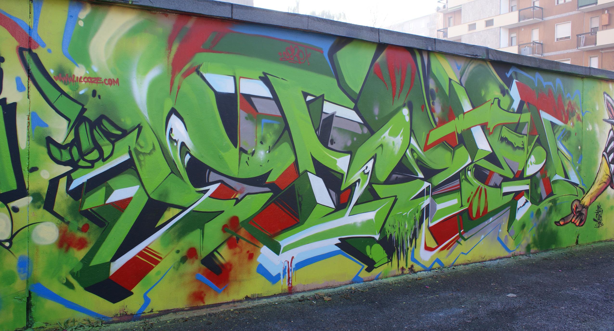 Coze, murata verde, graffiti