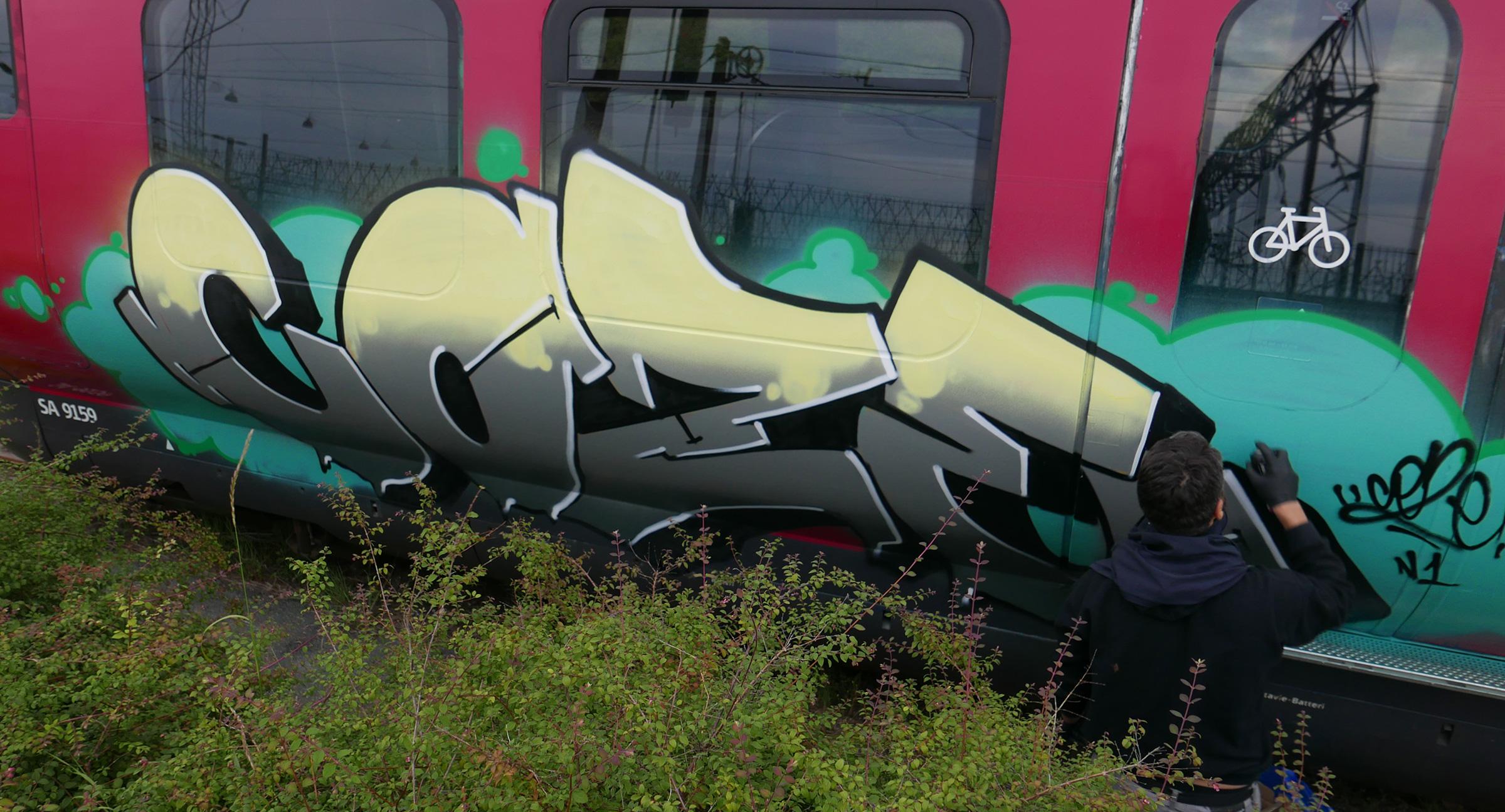Pannello di Coze - Graffiti treno